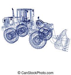 modello, bulldozer, 3d