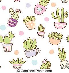 modello, cactus, seamless, fondo