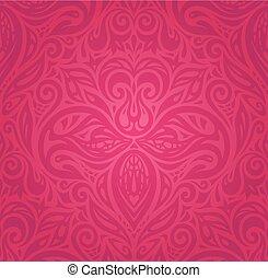 modello, carta da parati, vettore, fondo, floreale, rosso