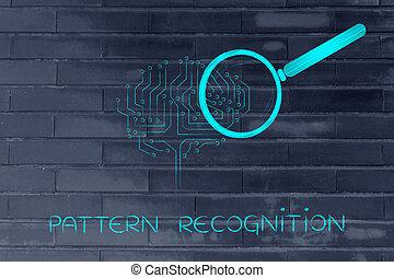modello, cervello, vetro, elettronico, ingrandendo, riconoscimento