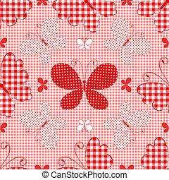 modello, checkered, seamless, rosso