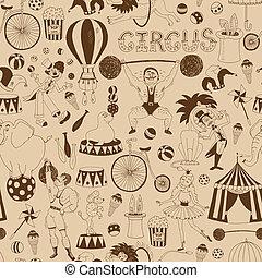 modello, circo, retro, fondo, seamless