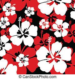 modello, con, ibisco, fiore