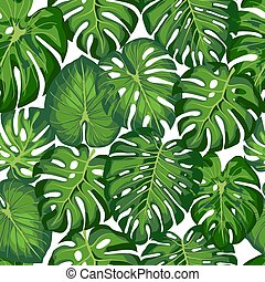 modello, con, tropicale, foglie
