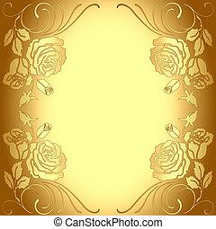 modello, cornice, fondo, oro, rose