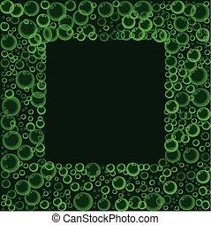 modello, cornice, galleggiante, o, fondo., verde, soda, bolle, sapone