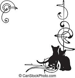 modello, cornice, gatti