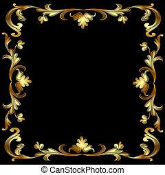 modello, cornice, nero, oro