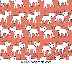 modello, correndo, fila, gatto bianco