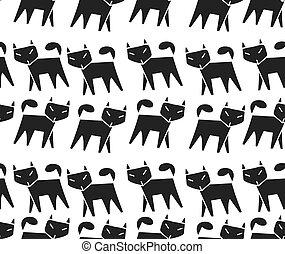 modello, correndo, fila, gatto nero