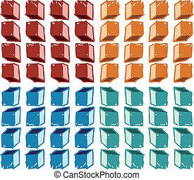 modello, cubi, colorito