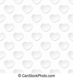 modello cuore, seamless, carta, fondo, bianco