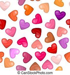 modello cuore, seamless, lucido, fondo, bianco