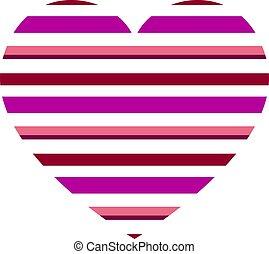 modello cuore, vettore, strisce orizzontali