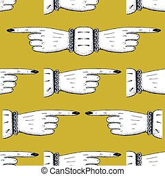 modello, dita, indicare, seamless