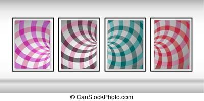 modello, doppio, illustrazione, rotazione, helix., turbine, radiale, elica, vettore, rays., set, fondo., backgrounds., turbine, design.