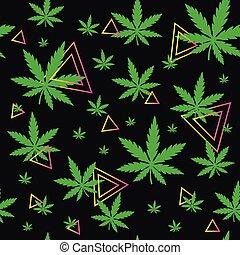 modello, droga, seamless, marijuana, verde, erbaccia