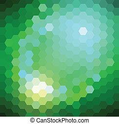 modello, esagonale, verde