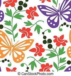 modello, farfalle, colorito