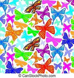 modello, farfalle, fondo, icone