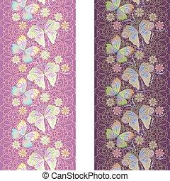 modello, farfalle, laccio, verticale, seamless