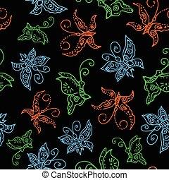 modello, farfalle, seamless