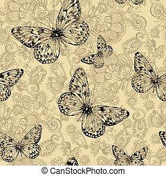 modello, farfalle, seamless, vettore, floreale, hand-drawing.