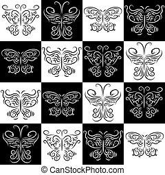 modello, farfalle, staggered, seamless