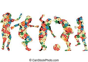 modello, fatto, fiori, silhouette, bambini