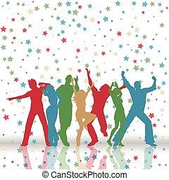 modello, festa, fondo, stelle, persone