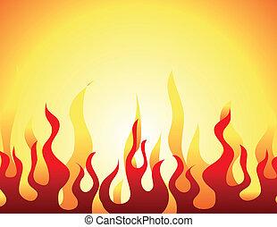 modello, fiamma, rosso, urente