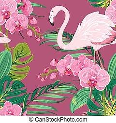 modello fiore, foglie, tropicale, fenicottero, orchidea