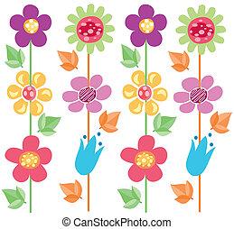 modello, fiori, 2