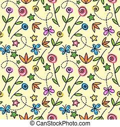 modello, fiori, butterflie