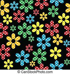 modello, fiori, colorato, punteggiato, seamless