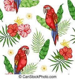 modello, fiori, rosso, pappagallo