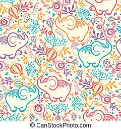 modello, fiori, seamless, fondo, elefanti