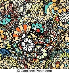 modello, fiori, seamless