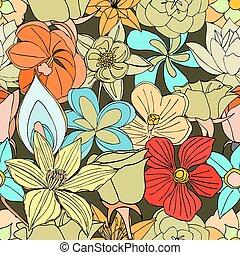 modello, fiori, seamless, molti