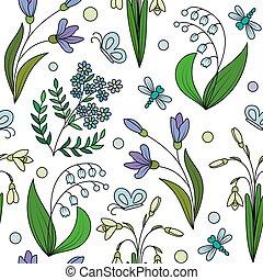 modello, fiori, seamless, primavera