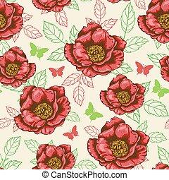 modello, fiori, seamless, rosso