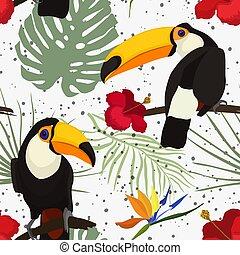 modello, fiori, tucano, seamless, uccello