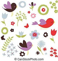 modello, fiori, uccelli