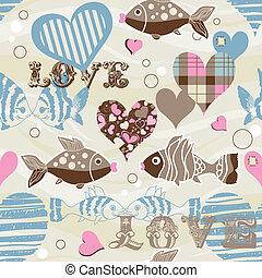 modello, fish, amore, seamless