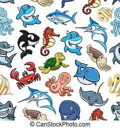 modello, fish, animali, oceano, seamless, mare, cartone animato