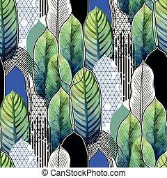 modello, foglie, combinato, esotico