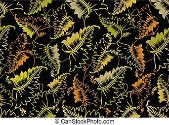 modello, foglie, nero, seamless, fondo