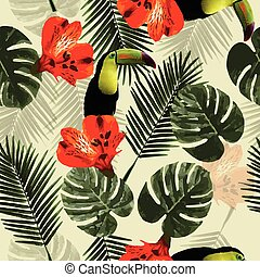 modello, foglie, pappagallo, seamless, tropicale, tucano, palma, fiori