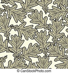modello, foglie, quercia, seamless