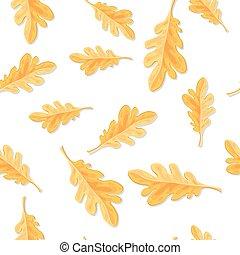 modello, foglie, quercia, seamless, isolato, autunno